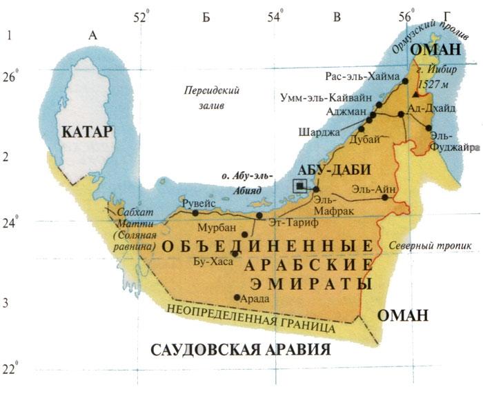 Объединенные арабские эмираты где находятся